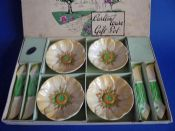 Carlton Ware Yellow 'Buttercup' Butter Pats and Knives Boxed Gift Set c1936
